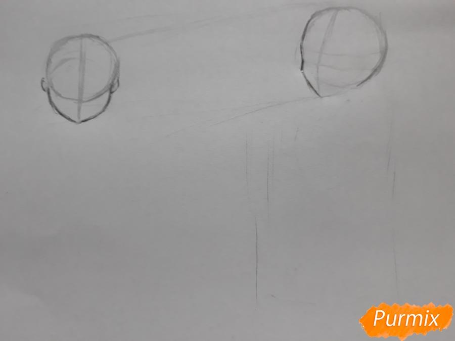 Рисуем Юи и Адзусу из аниме K-on карандашами - шаг 1