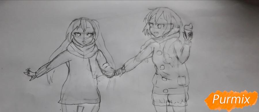 Рисуем Юи и Адзусу из аниме K-on карандашами - шаг 11