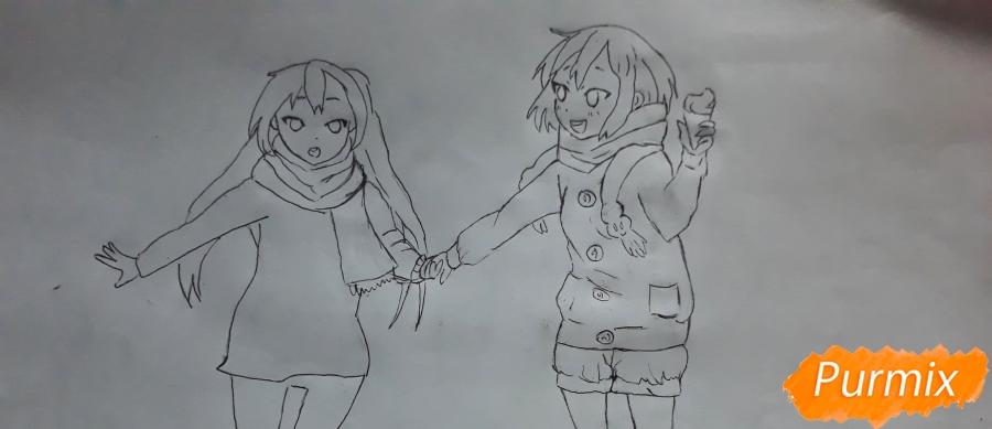 Рисуем Юи и Адзусу из аниме K-on карандашами - шаг 12