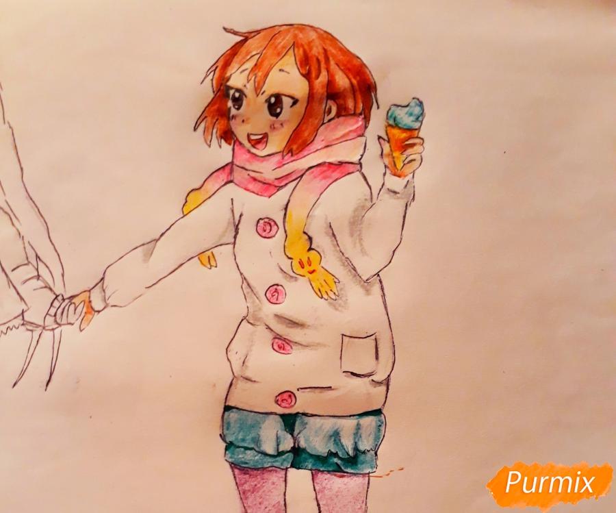 Рисуем Юи и Адзусу из аниме K-on карандашами - шаг 14