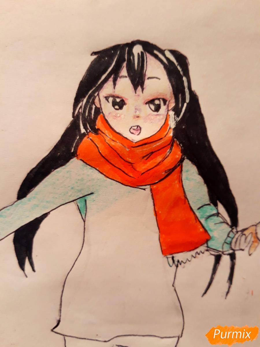 Рисуем Юи и Адзусу из аниме K-on карандашами - шаг 15