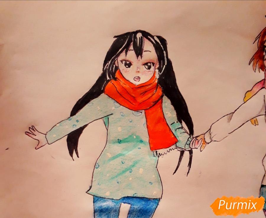 Рисуем Юи и Адзусу из аниме K-on карандашами - шаг 16