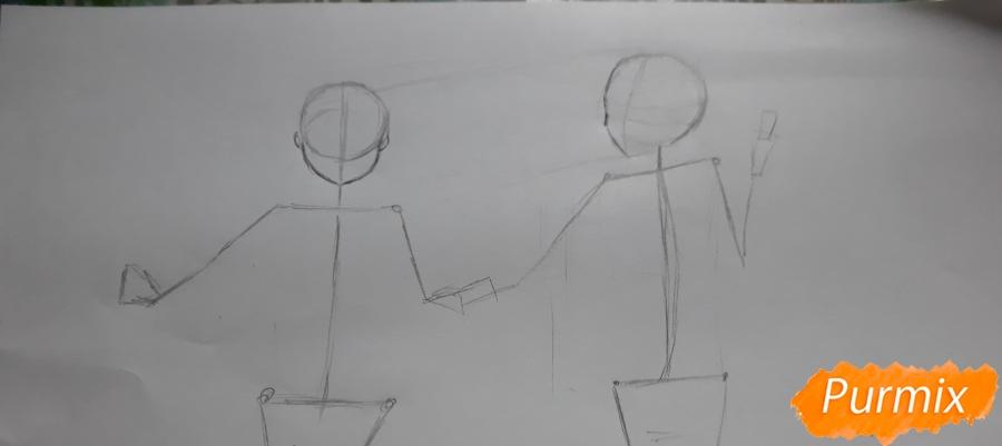Рисуем Юи и Адзусу из аниме K-on карандашами - шаг 2