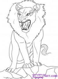аниме льва карандашами