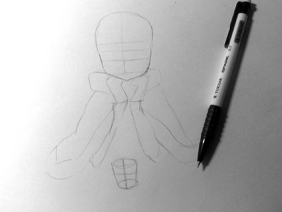 Рисуем и раскрашиваем аниме девушку с чашкой чая - шаг 2