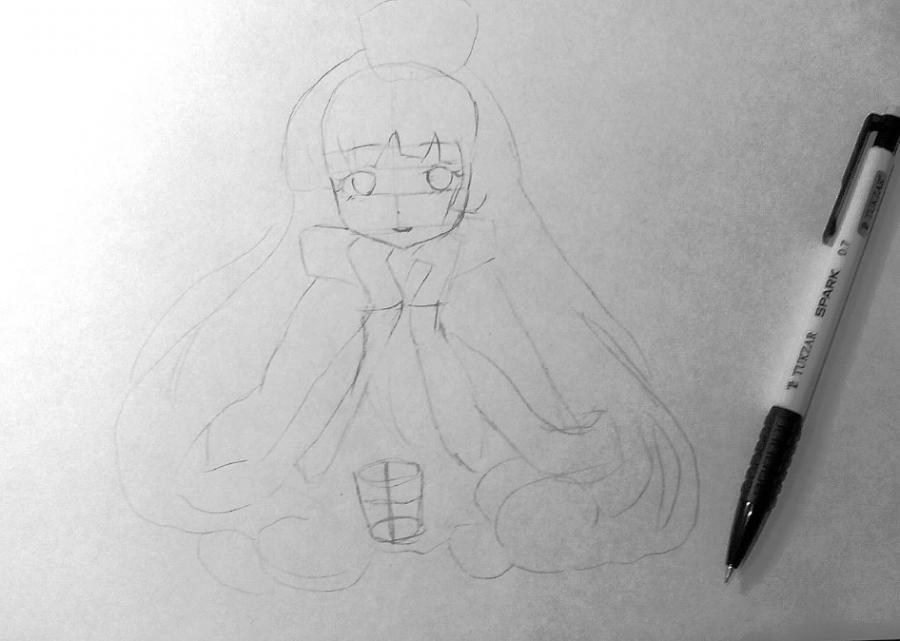 Рисуем и раскрашиваем аниме девушку с чашкой чая - шаг 3