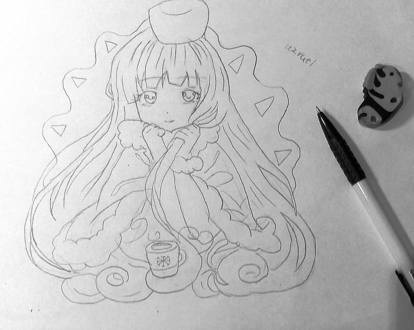 Рисуем и раскрашиваем аниме девушку с чашкой чая - шаг 4