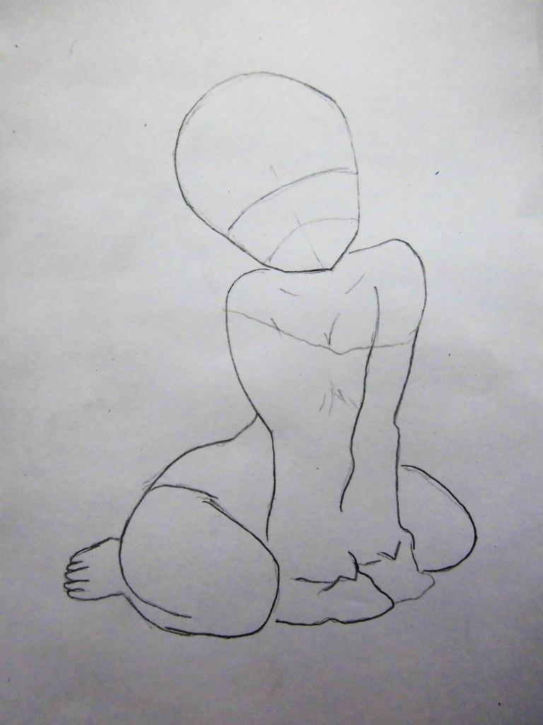 Рисуем сидящую аниме девушку-кошку - шаг 1
