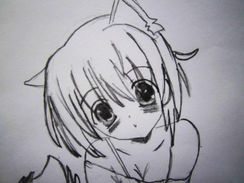 Рисуем сидящую аниме девушку-кошку - шаг 4