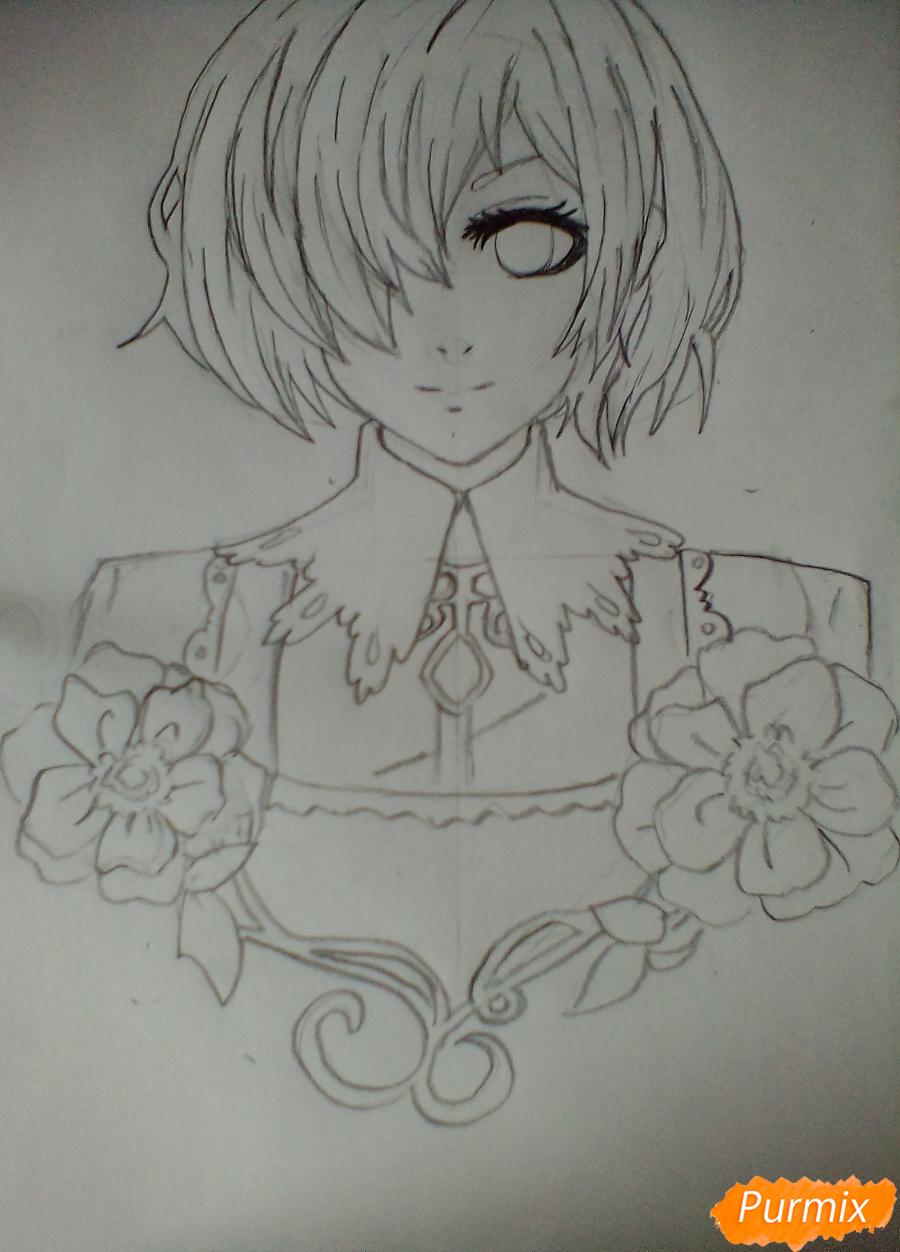 Тоука Киришима с цветами - шаг 4