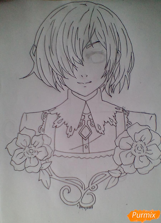 Тоука Киришима с цветами - шаг 5