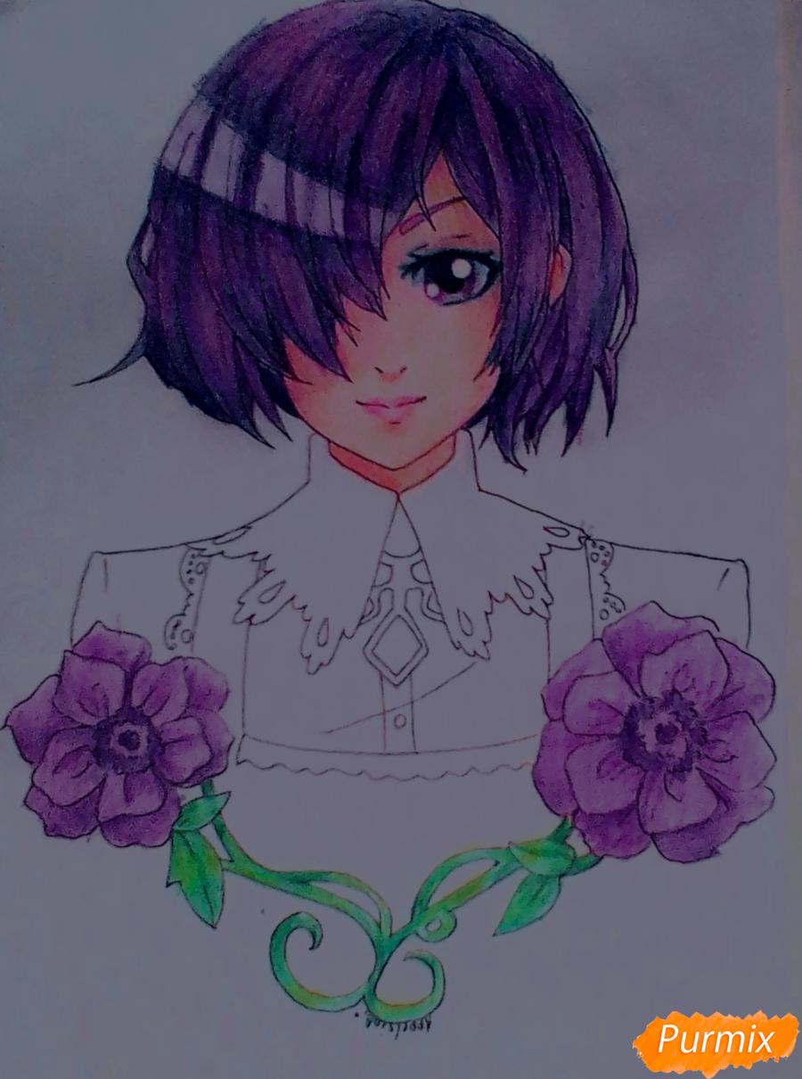 Тоука Киришима с цветами - шаг 8