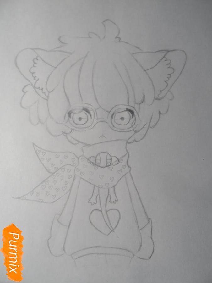 Учимся рисовать девочку Чиби в виде зверька - шаг 5