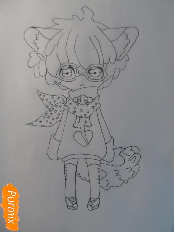 Учимся рисовать девочку Чиби в виде зверька - шаг 7