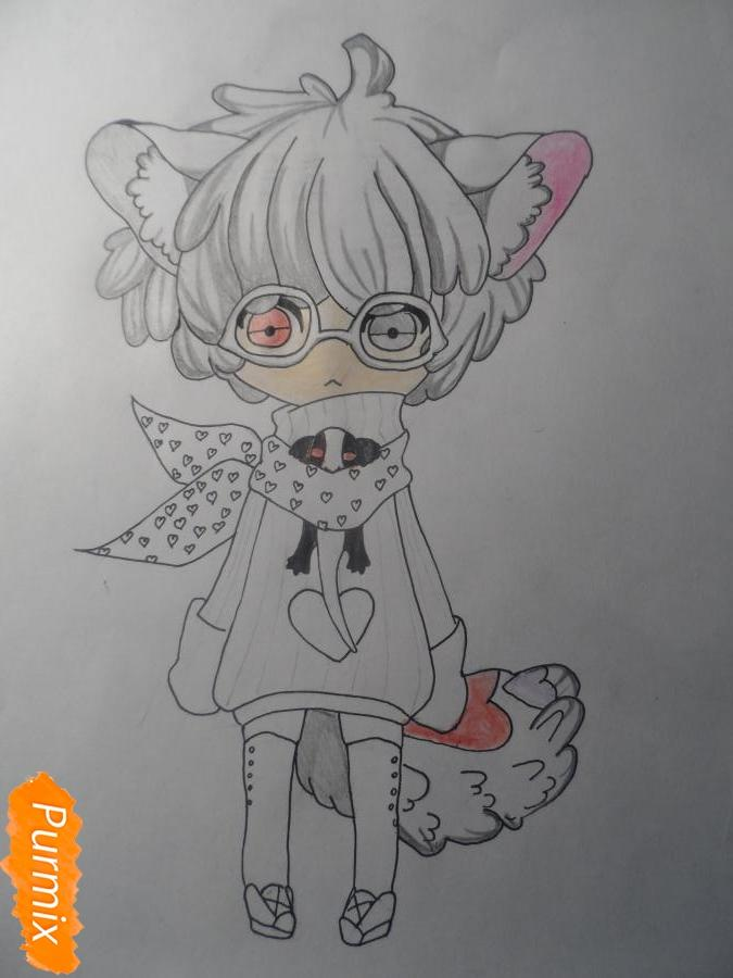 Учимся рисовать девочку Чиби в виде зверька - шаг 8