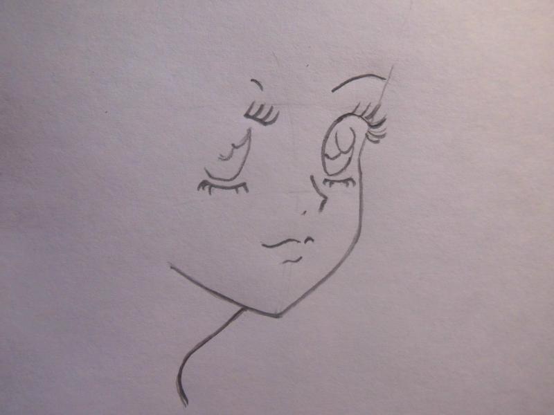 Учимся легко рисовать лицо и волосы в стиле аниме - шаг 2
