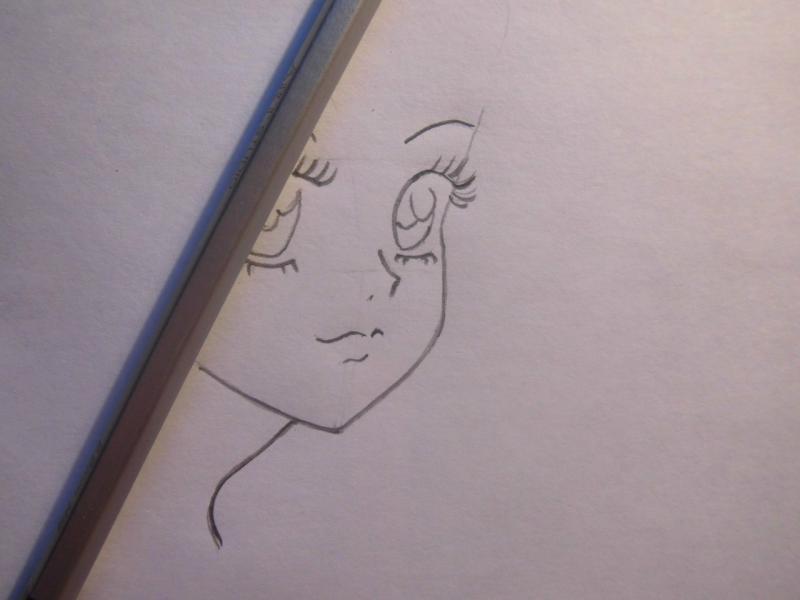 Учимся легко рисовать лицо и волосы в стиле аниме - шаг 3