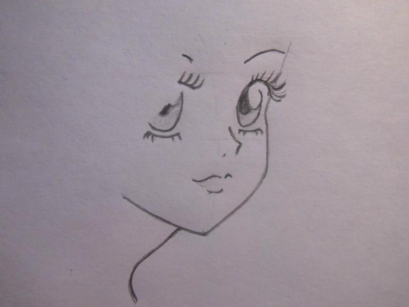 Учимся легко рисовать лицо и волосы в стиле аниме - шаг 4