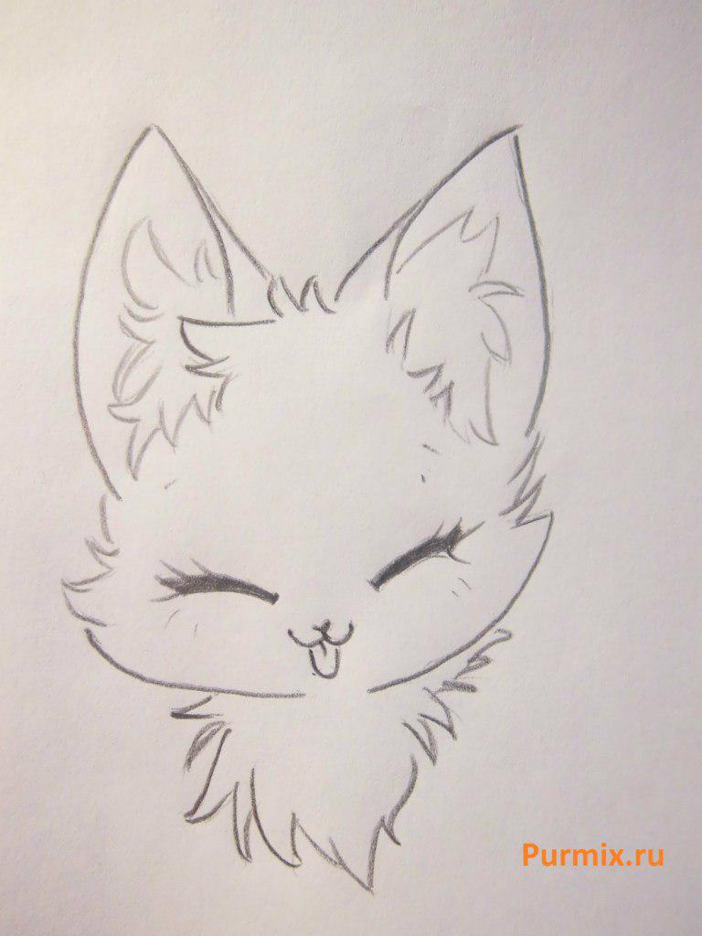 Рисуем милого аниме лисёнока простым - шаг 2
