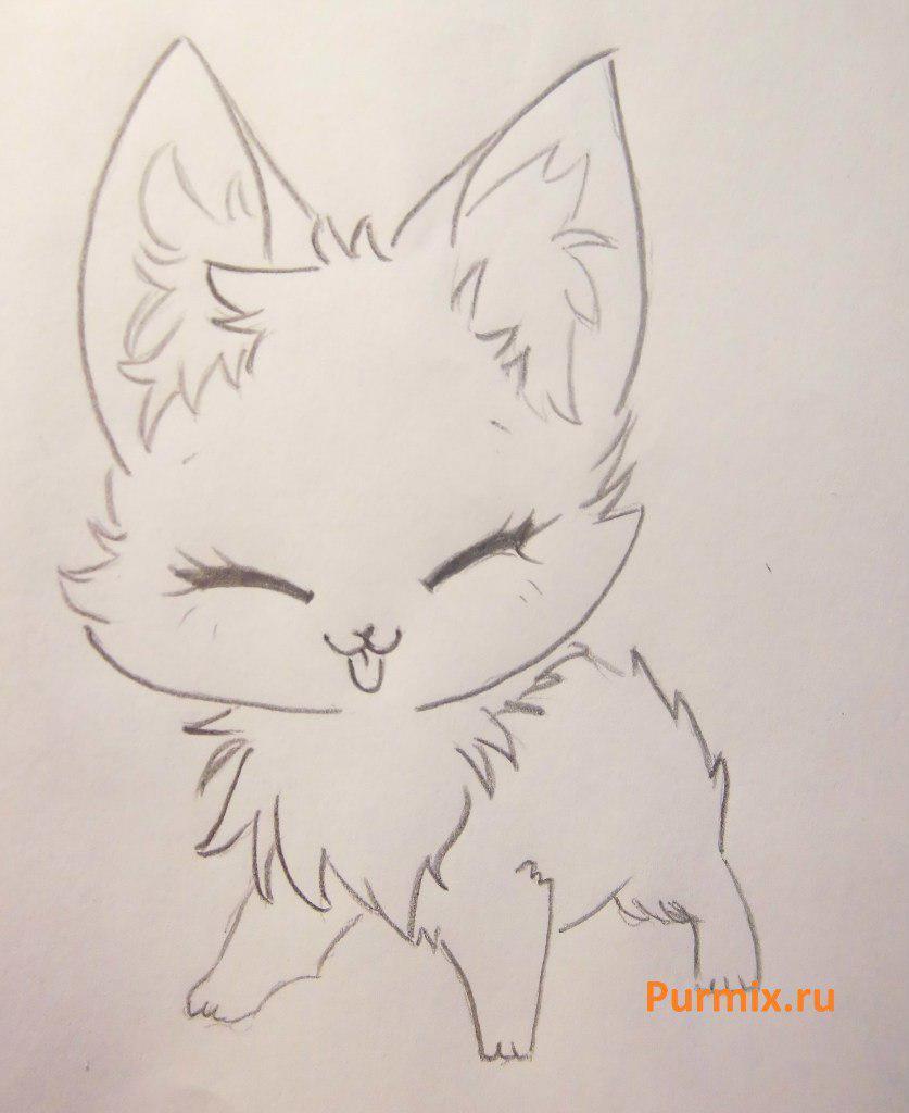 Рисуем милого аниме лисёнока простым - шаг 3