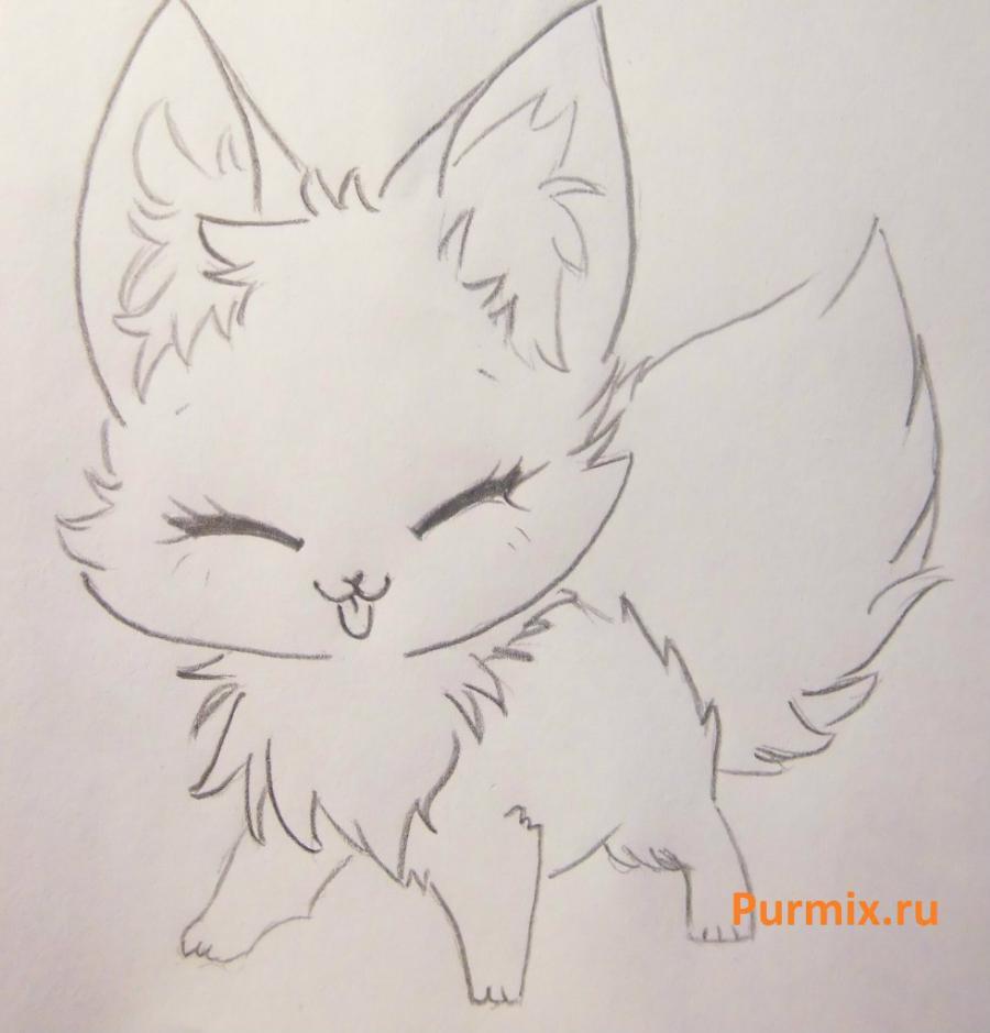 Рисуем милого аниме лисёнока простым - шаг 4
