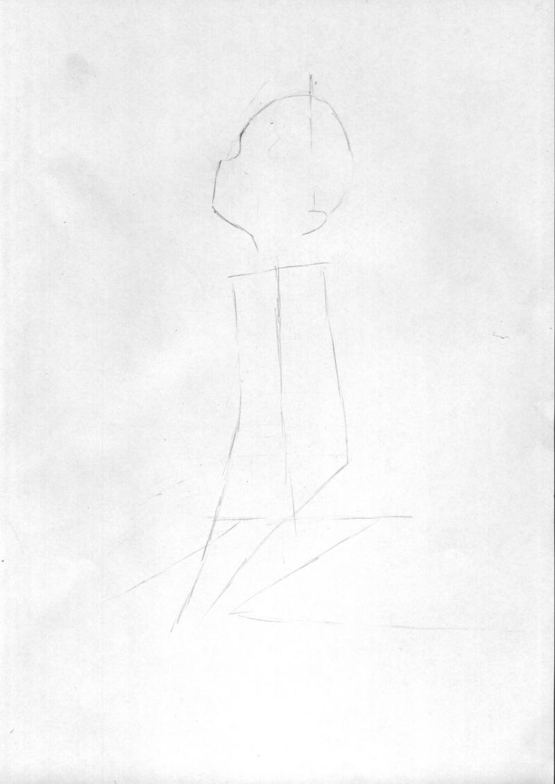 Рисуем и раскрасить сидящую аниме девушку цветными карандашами - шаг 1