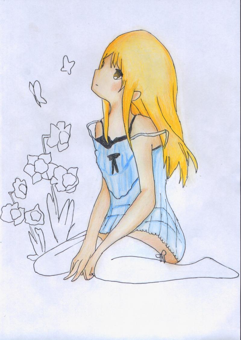 Рисуем и раскрасить сидящую аниме девушку цветными карандашами - шаг 10