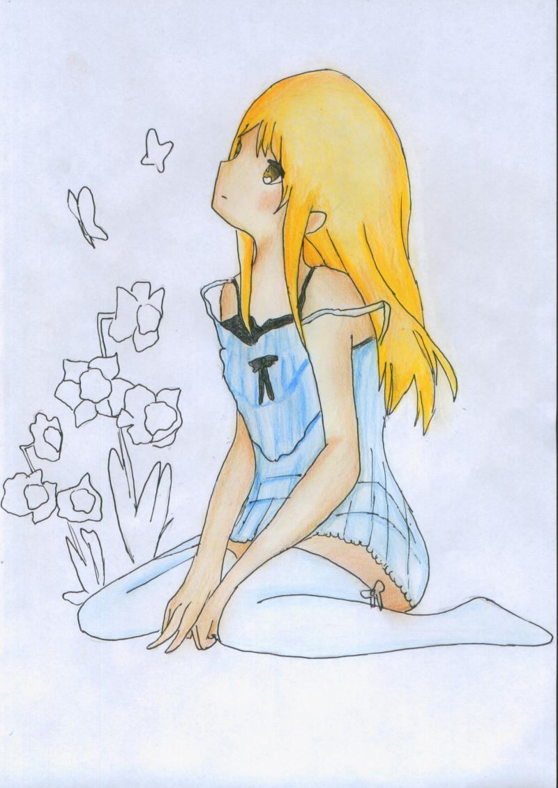 Рисуем и раскрасить сидящую аниме девушку цветными карандашами - шаг 12