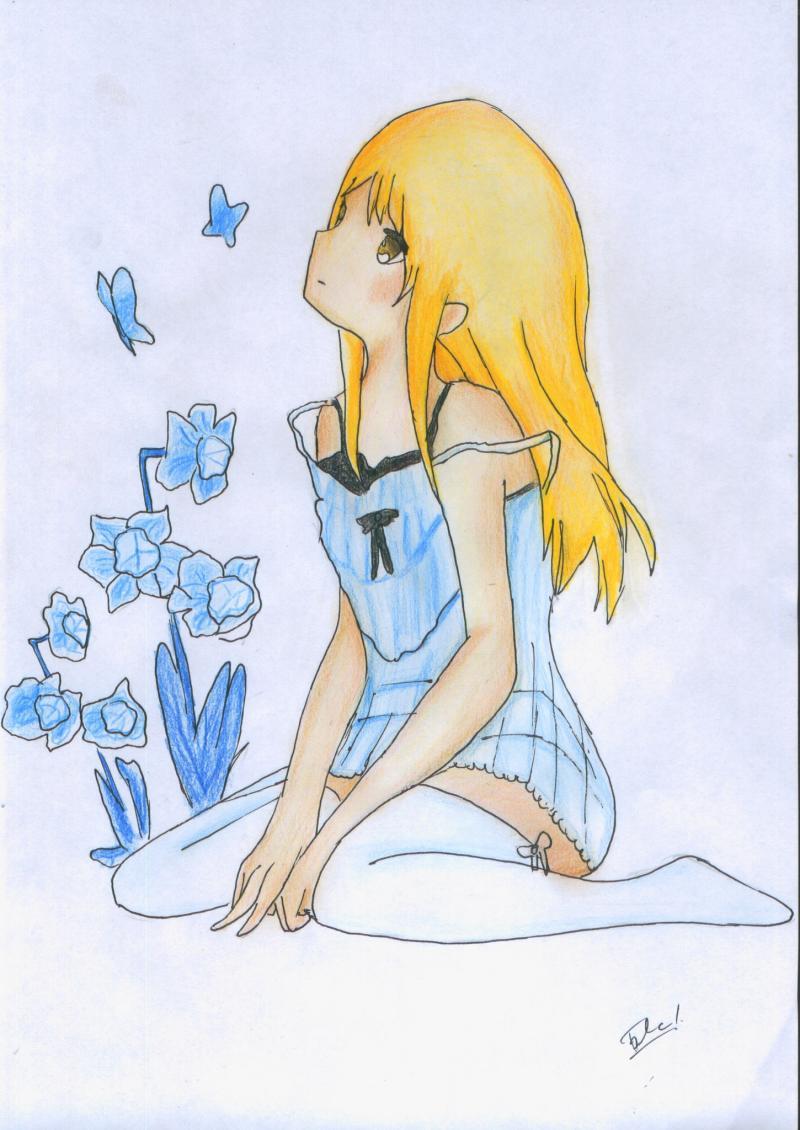 Рисуем и раскрасить сидящую аниме девушку цветными карандашами - шаг 13