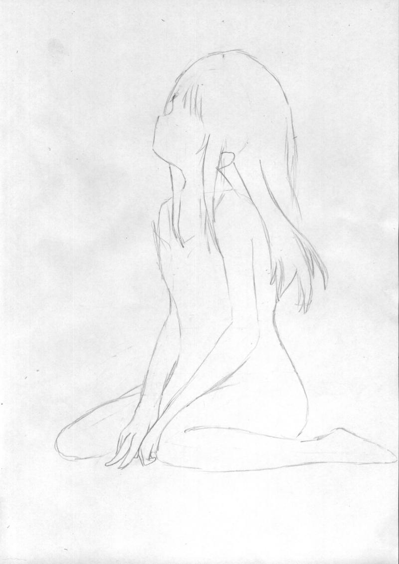 Рисуем и раскрасить сидящую аниме девушку цветными карандашами - шаг 2