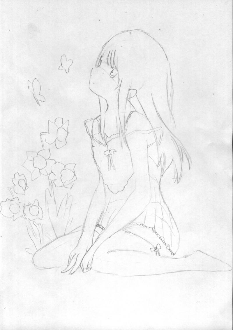 Рисуем и раскрасить сидящую аниме девушку цветными карандашами - шаг 3