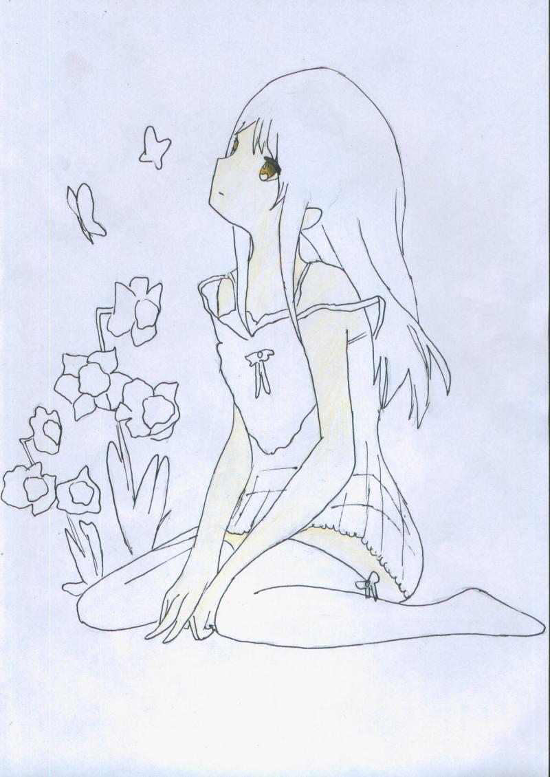 Рисуем и раскрасить сидящую аниме девушку цветными карандашами - шаг 5