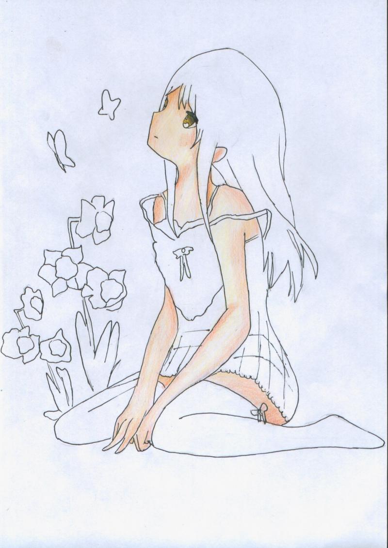 Рисуем и раскрасить сидящую аниме девушку цветными карандашами - шаг 6