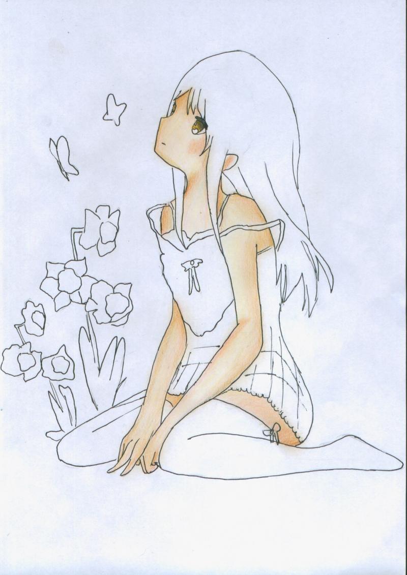 Рисуем и раскрасить сидящую аниме девушку цветными карандашами - шаг 7