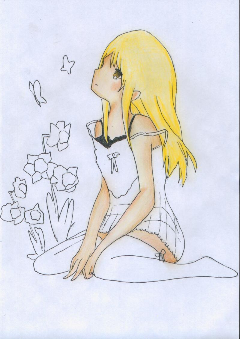 Рисуем и раскрасить сидящую аниме девушку цветными карандашами - шаг 8