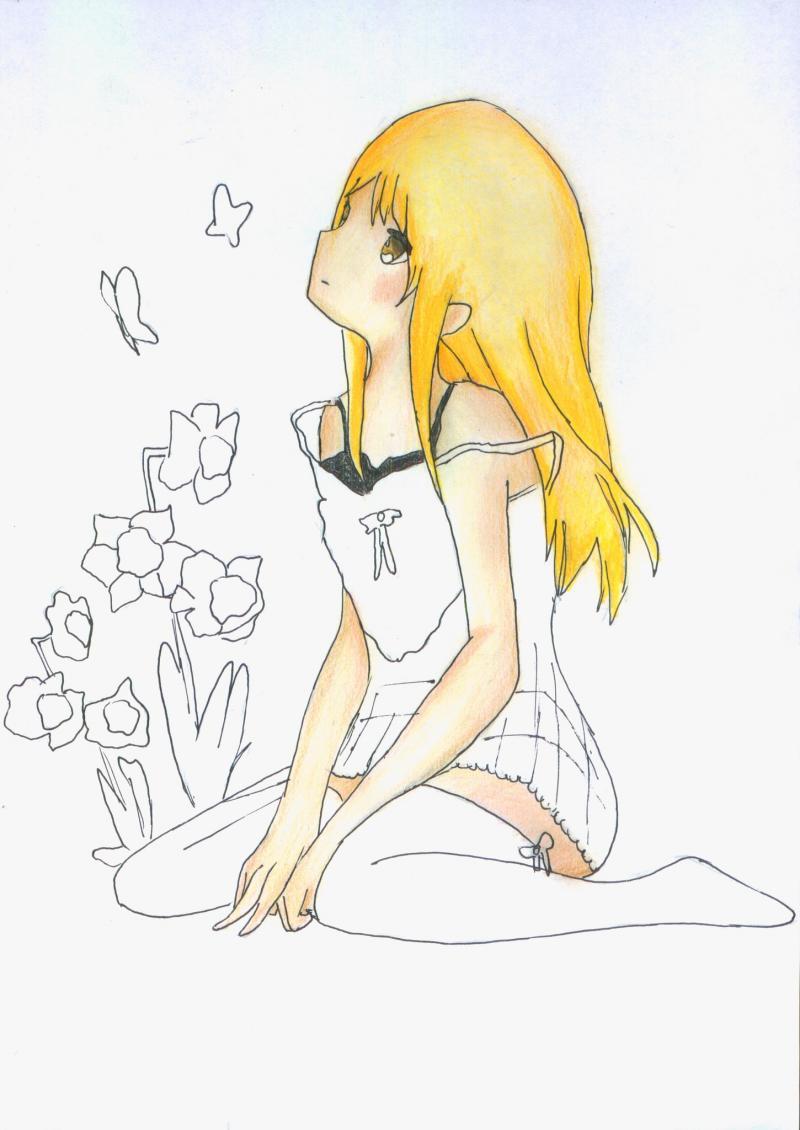 Рисуем и раскрасить сидящую аниме девушку цветными карандашами - шаг 9