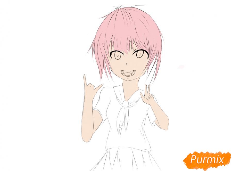 Весёлая девочка-школьница - шаг 8