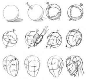 Рисование основной формы головы - шаг 1