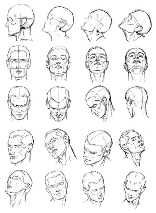 Как рисовать движение головы на шее - шаг 1