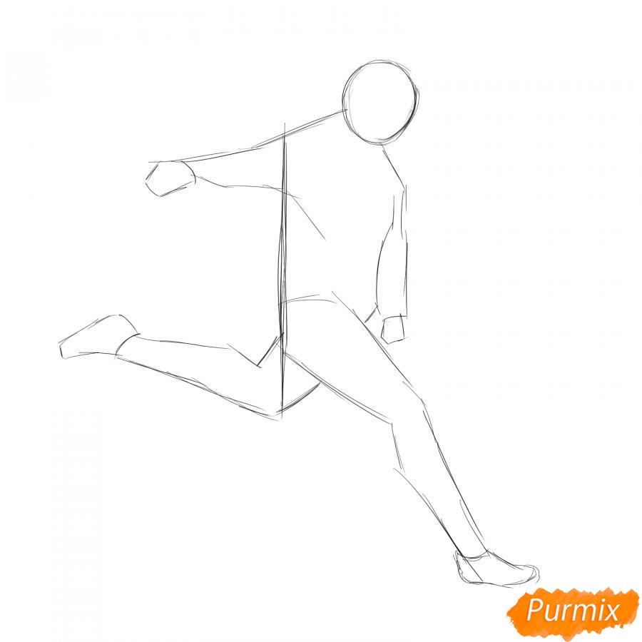 Рисуем бегущего футболиста с мячом - шаг 2