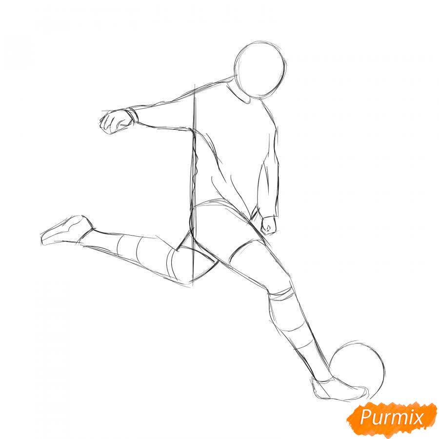 Рисуем бегущего футболиста с мячом - шаг 3
