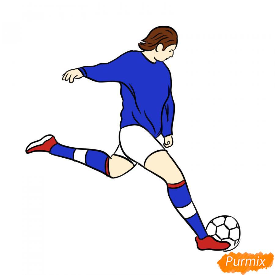 Рисуем бегущего футболиста с мячом - шаг 7