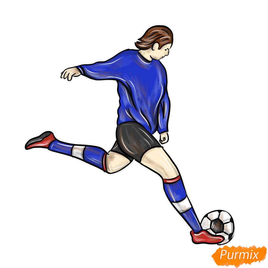 Рисуем бегущего футболиста с мячом - шаг 9