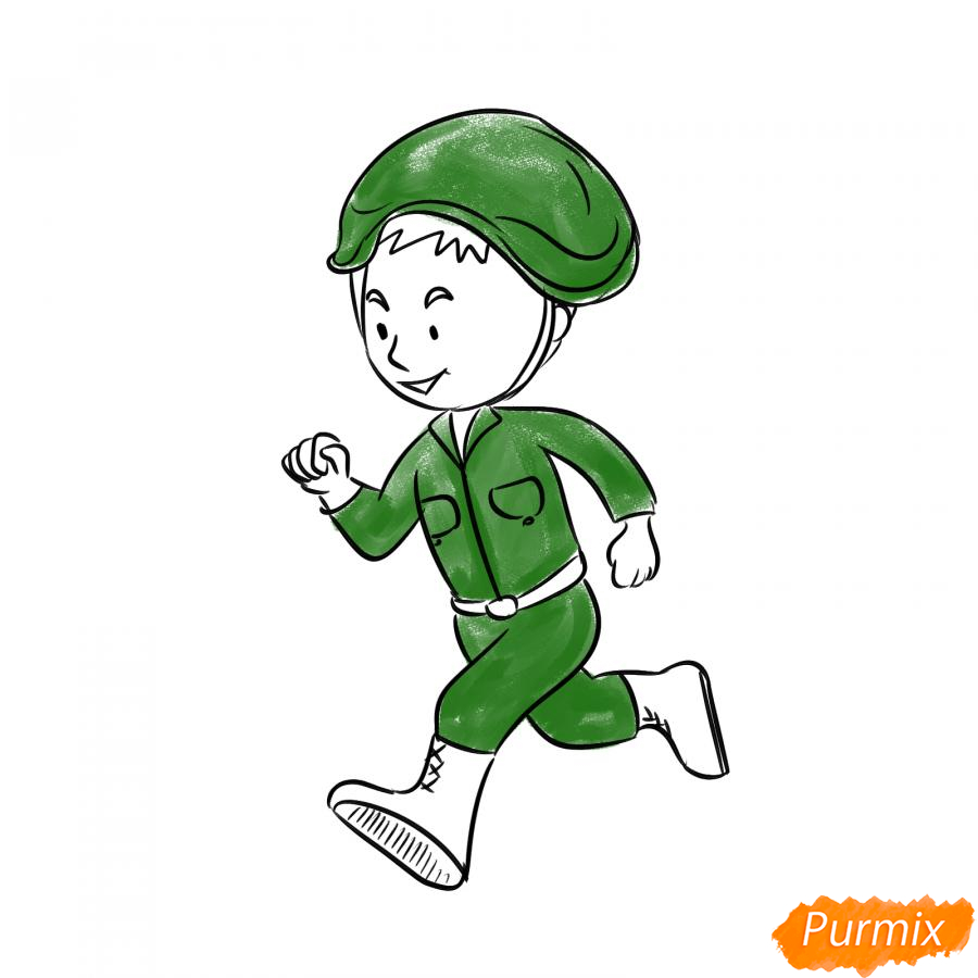 Рисуем бегущего солдата - шаг 5