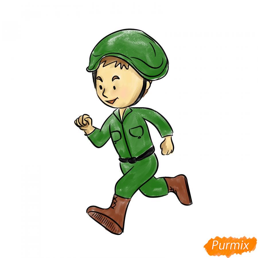Рисуем бегущего солдата - шаг 6