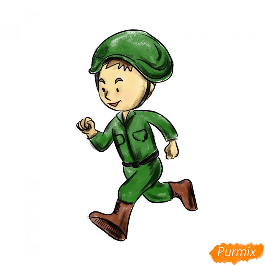 Рисуем бегущего солдата - шаг 7