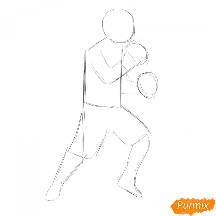 Рисуем боксера карандашами - шаг 3