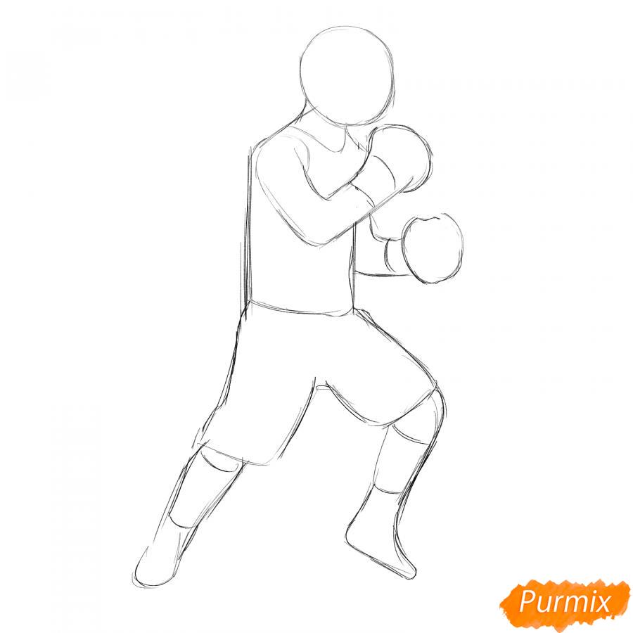 Рисуем боксера карандашами - шаг 4