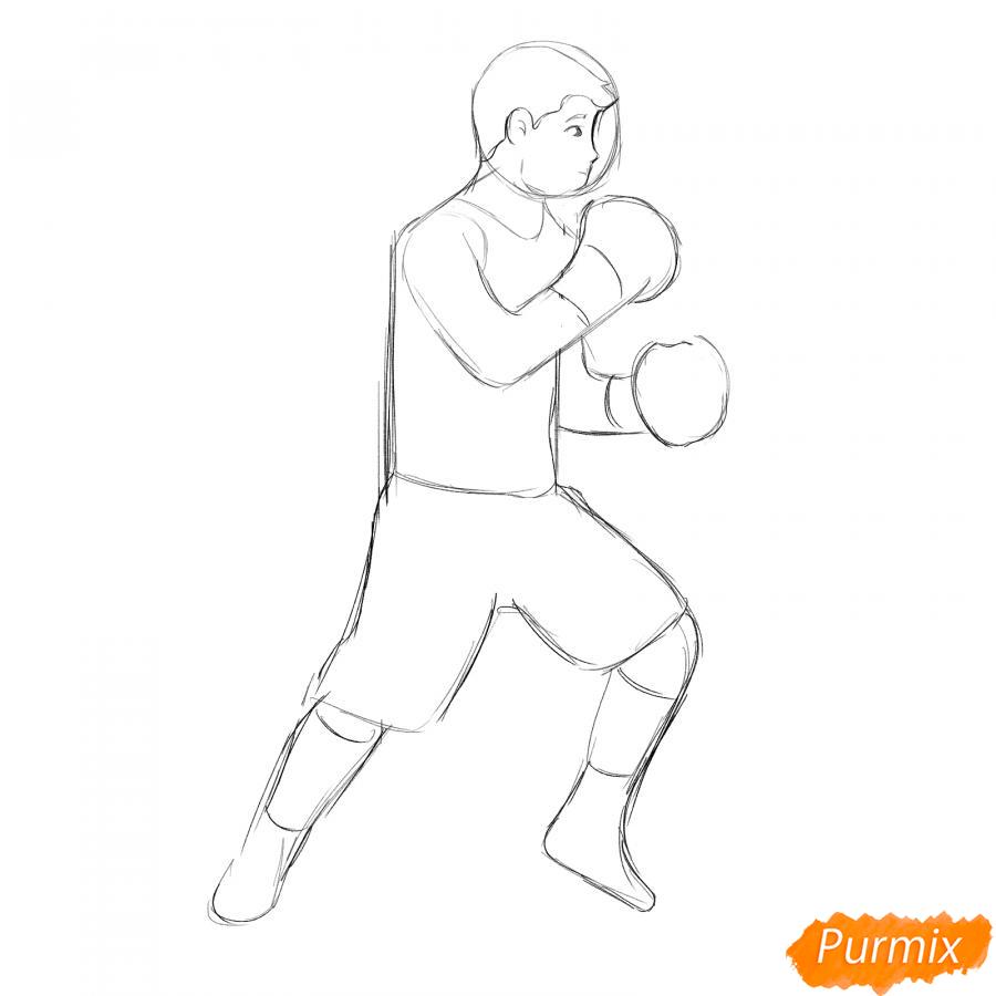 Рисуем боксера карандашами - шаг 5