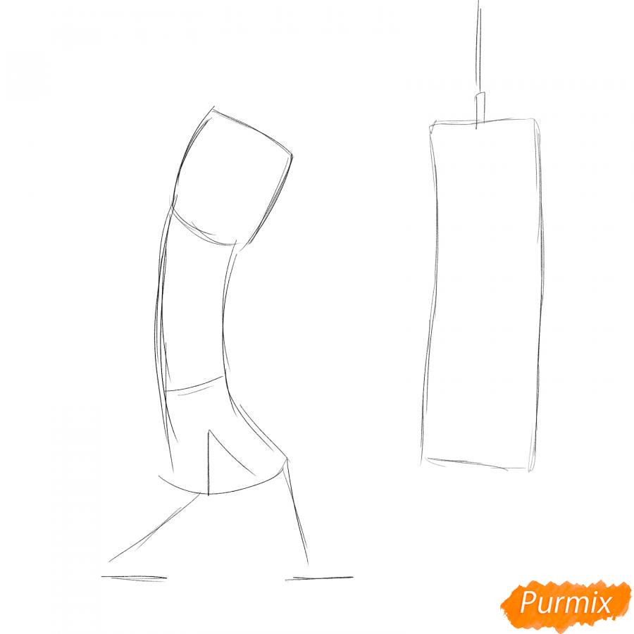 Рисуем боксера с грушей - шаг 1